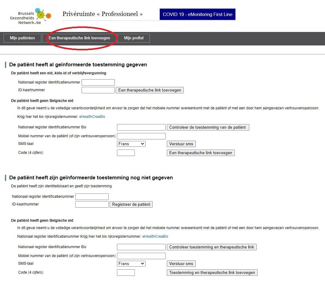 Brussels Health Network - Therapeutische link toevoegen